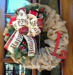 Couronne de Noël couronne de Noël couronne de toile par WreathChick