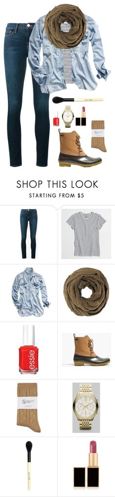 """Rainy day outfit"" by kadunnin ❤ liked on Polyvore featuring Frame, J.Crew, Madewell, Essie, Johnstons, Michael Kors, Bobbi Brown Cosmetics and Tom Ford"
