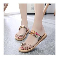 66f61d1e68f7a Fullkang Women Fashion Summer Flat Flip Flops Sandals Loafers Bohemia Shoes  US 7 Flower Red -- To view further for this item