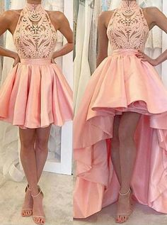 A-line homecoming dresses, pink homecoming dresses, high-low homecoming dresses, applique homecoming dresses, prom dresses, party dresses, formal dresses#SIMIBridal #homecomingdresses