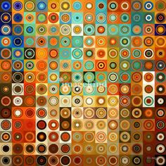 """""""Circles and Squares #1- Modern Art"""" by Mark Lawrence, Alpharetta, Georgia //  Mark Lawrence's modern décor work is celebrated for his use of vibrant blended colors, painted shapes, and abstract eye-popping patterns. His cheerful, handcrafted, and elegant organic designs are translated into his decorative paintings with a sense... // Imagekind.com -- Buy stunning, museum-quality fine art prints, framed prints, and canvas prints directly from independent working artists and photographers."""