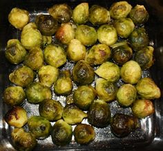 Roasted Brussels Sprouts- Bag of Frozen Sprouts into a baking dish coated with Olive Oil. Lightly coat with olive oil and Kosher Salt. 425 for 30 minutes, remove, and stir it. Put it in for another 30 minutes,