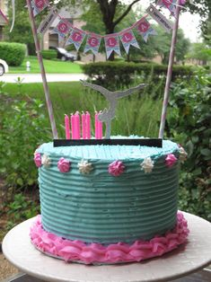 Girl's gymnastics cake. Pink and blue frosting, with a silver cut out gymnast. Perfect girls birthday cake.