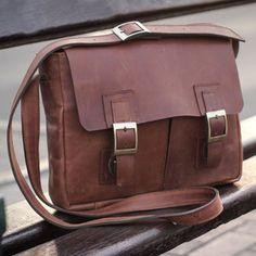 NOVICA Caramel Brown Leather Messenger Bag with Multi Pockets