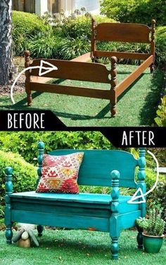 Bed frame turned into a bench!  DIY Furniture Makeovers - Refurbished Furniture and Cool Painted Furniture Ideas for Thrift Store Furniture Makeover Projects | Coffee Tables, Dressers and Bedroom Decor, Kitchen |  Color and Wallpaper Night Desk Revamp