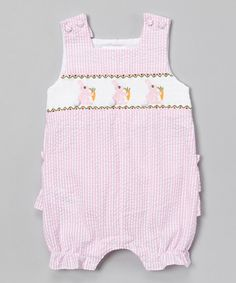 Look at this Pink Stripe Bunny Smocked Shortalls - Infant