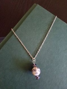 Purple, Pink, and White Bead Necklace, Silver Necklace, Purple and Pink Bead Necklace