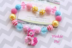 READY TO SHIP Baby necklace, Pinkie Pie My lil pony birthday gumball chunky sparkle stripe jewel bead girl toddler necklace photography prop on Etsy, $23.95