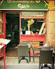 Cafe in Jerusalem - Coffee shop in Jerusalem -8 x 10 - Red - Fine art urban photography