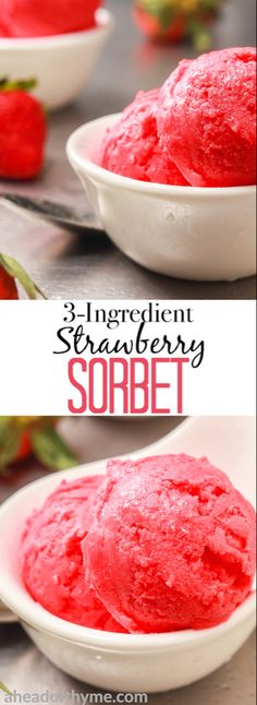 No sorbet is easier or tastier than strawberry sorbet made with vibrant, sweet and utterly succulent strawberries. This treat is low on calories and full of nutrients, vitamins and minerals, so snack away on this all-natural treat. without the guilt! Cold Desserts, Frozen Desserts, Frozen Treats, Delicious Desserts, Dessert Recipes, Yummy Food, Frozen Strawberry Desserts, Strawberry Breakfast, Party Desserts
