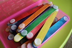 Craft sticks with velcro dots for building, making shapes, etc.