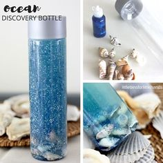 A glittering ocean in your hands with an ocean discovery bottle. Make a seashell filled ocean sensory bottle with simple materials for an ocean themed unit.