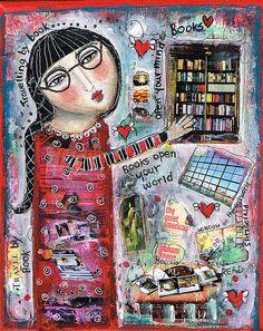 """""""TRAVELLING BY BOOK"""" by Sandy FitzGerald. Mixed media on 8""""x10""""stretched canvas.Con el tema de los libros se hace arte ......."""