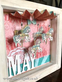 Sweet picture frame gift with glittered carosel horses