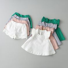 Girls Fly Sleeve Outfits Tops and Shorts 2pcs Sets Candy Color Sweet Children Clothing