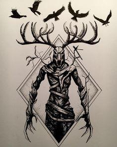 📸 - Adam ✌️ - Stay away from the woods. They - - Pikstagram Silhouette Tattoos, Dad Tattoos, Tattoos For Guys, Der Wendigo, Viking Tribal Tattoos, Witcher Tattoo, Apocalypse Tattoo, Satanic Tattoos, Skull Sleeve Tattoos