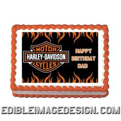 HARLEY DAVIDSON Edible Birthday Party Cake Image Cupcake Topper