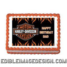 HARLEY DAVIDSON Edible Birthday Party Cake Image Cupcake Topper