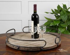 Lowest price online on all Uttermost Acela Natural Fir Wood Round Wine Tray - 19727
