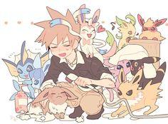 pokemon, eevee and umbreon image on We Heart It Green Pokemon, Mega Pokemon, Pokemon Memes, Pokemon Fan Art, Cute Pokemon, Pokemon Stuff, Gary Oak, Pokemon Eeveelutions, Pokemon People