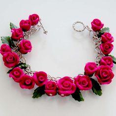 Fuchsia Rose Bracelet Polymer Clay by beadscraftz on Etsy