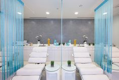 Bliss Spa-bright light blue grey and white