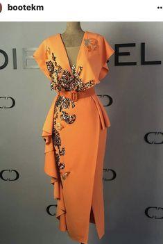 - Women's style: Patterns of sustainability Modesty Fashion, Fashion Outfits, Womens Fashion, Elegant Dresses, Beautiful Dresses, Lace Dress Styles, Dress Sewing Patterns, African Fashion Dresses, Orange Dress