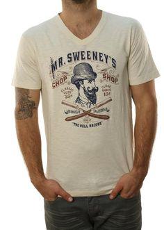 Amazon.com: Lucky Brand Mens Mr. Sweeneys Chop Shop Barber Logo T-Shirt Cream White-Small: Clothing