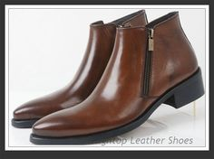Free shipping new 2014 men's genuine leather,fashion style, ankle boots,full grain leather,round toe,black/brown, size:38-44 $468.75