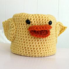 crocheted chick toilet paper cover