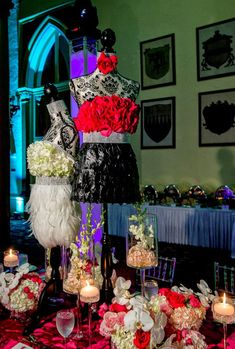 """How Event Planners Use Dress Forms for Fashion Themed Parties & Bat Mitzvahs -  Mannequin Dress Forms are a versatile """"must have""""item for a fashion themed party. Here are the creative ways that top event planners around the country use them. Dress forms can be rented as well as purchased from companies like Mannequin Madness. 1 Dress Forms covered in flowers and fabric mad.... Read more at http://blog.mannequinmadness.com/2014/08/how-event-planners-use-dress-forms-for-fas"""