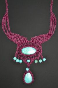 Macrame Necklace with Turquoise Stones by Coco Paniora Salinas