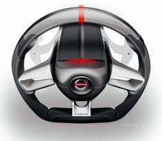 Volvo Steering Wheel Sketch by Adrien Séné Black White Chrome Red light sport design render illustration