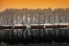 Winter reflections, Srinagar #Kashmir Kashmir Tour, Kashmir India, Honeymoon Tour Packages, Srinagar, Reflection, Tours, Celestial, Sunset, Winter