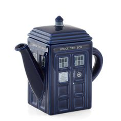 ModCloth Sci-fi Time Machine for Teapot (59 CAD) ❤ liked on Polyvore featuring home, kitchen & dining, teapots, doctor who, fillers, accessories, other, dr who teapot, blue teapot and ceramic teapot
