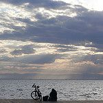 thessaloniki sunset with the bike by stelios...