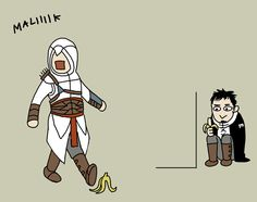 """Malik lies in wait for the banana to hit the fan. """"OvO"""" by doubleleaf on DeviantArt.com."""