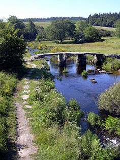 Postbridge clapper bridge circa 13th Century, Devon, England