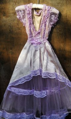 Lavender tulle  dress lilac satin lace cupcake by vintageopulence, $150.00