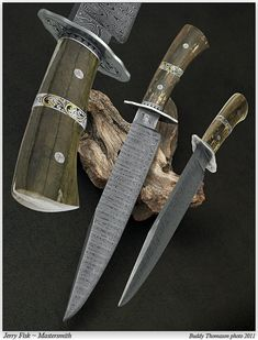 "Knife Gallery (SOLD - Example Only)/""Southern"" Bowie with Belly Band - Jerry Fisk Knives"