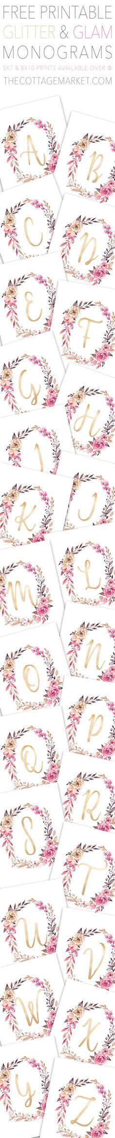Free Printable Glitter and Glam Monograms | The Cottage Market | Bloglovin'
