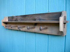 Rustic Wood Coat Rack w/railroad Spike Hooks