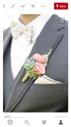 pink boutonniere with succulents 7 boutonnières They can all have their own character. They do not need to be identical. Navy Wedding Flowers, Prom Flowers, Gold Wedding, Floral Wedding, Wedding Colors, Wedding Bouquets, Dream Wedding, Wedding Day, Wedding Groom