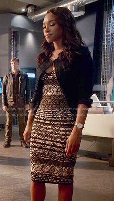 Iris's textured stripe dress on The Flash.  Outfit Details: https://wornontv.net/53571/ #TheFlash
