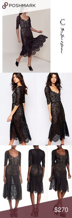 NEW_FOR LOVE+LEMONS/ROSALITA LACE Midi DRESS[XS] NEW • \\FOR LOVE AND LEMONS// ROSALITA MIDI IN BLACK LACE DRESS [XS] RETAILS [$297.00] SOLD OUT in stores ::: Sand-tone bodysuit lining lends a peek-a-boo effect to this lace For Love & Lemons midi dress. Sweetheart detailing at square neckline. Scalloped hem. 3/4 sleeves. Hidden back zip and snap closure at panty. Semi-sheer.  Fabric: Lace. Shell: 56.7% polyester/43.3% nylon. Lining: 82% nylon/18% spandex. Dry clean. For Love and Lemons…