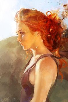 """Illusion of Darkness and Fire"" - Audrey Dutroux {contemporary artist beautiful red head female woman profile face portrait digital painting}"