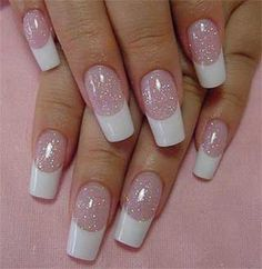 Glitter /French tip nails