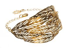 leaf bracelet gold plated bracelet adjustable chain by inbarshahak
