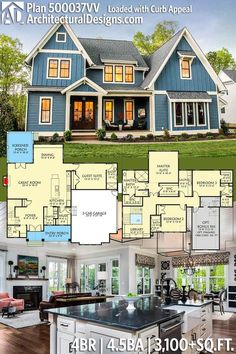 Main floor layout is great. Just extend the back wall of the guest suite and create a Master Bedroom on the main floor....
