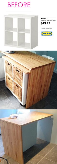 20 Smart and Gorgeous IKEA Hacks: save time and money with functional designs and beautiful transformations. Great ideas for every room such as IKEA hack bed desk dressers kitchen islands and more! - A Piece of Rainbow Ikea Hack Kitchen, Craft Storage Cabinets, Diy Furniture, Diy Storage, Ikea Hack, Ikea, Kitchen Island Ikea Hack, Kitchen Organization Diy, Ikea Kitchen Island